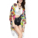 Multi Color Abstract Pattern Print Chiffon Kimono
