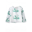 White 3/4 Sleeve Green Leaves Organza Blouse