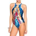 Round Neck Sleeveless Print Fitted Swimwear