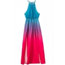 Front Split Sexy Ombre Cami Longline Dress