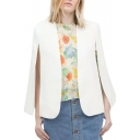 White Split Sleeve Open-Front Short Cape
