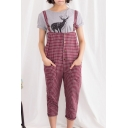 Vintage Gingham Pattern Varsity Style Overalls with Double Pockets
