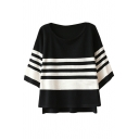 Mono Stripe Modern Style High-Low Hem Loose Knitting Sweater