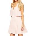 Pink Halter Backless Layered Skater Dress