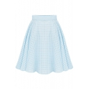Plain Plaid High Waist A-Line Skirt