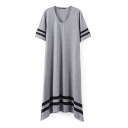 Gray Short Sleeve Stripe Asymmetric Hem Dress