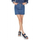 Dark Blue Four Button Front Mini Denim Skirt