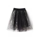 Black Elastic High Waist Organza Print A-Line Skirt