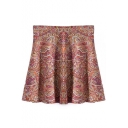 High Waist Totem Print Fitted Flare Skirt