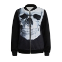 3D Skull Print Black Baseball Jacket