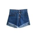 Blue High Waist Zipper Fly Hot Denim Shorts