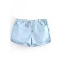Light Blue Thin Drawstring Loose Shorts