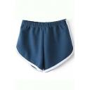 Color Block Trim Elastic Waist Biker Shorts