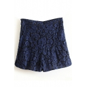 Navy Floral Pattern High Waist Hot Pants
