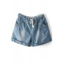 Light Blue Roll Cuff Drawstring Waist Denim Shorts