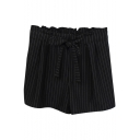 Black Vertical Stripe Bow Tie High Waist Casual Shorts