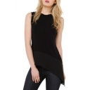 Black Round Neck Asymmetric Hem Chiffon Blouse