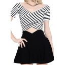 V-Neck Short Sleeve Striped Crop Top with Mini Skirt
