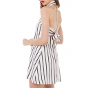 White Sleeveless Black Stripe Sexy Halter Shirt Dress