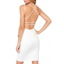 White V-Neck Cross Backless Sheath Dress