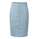 Light Wash High Waist Zip Back Pencil Skirt