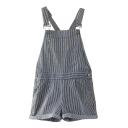 Classic Striped Roll Cuff Pocket Short Overalls