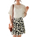 Pleated Flower Jacquard A-line Skirt