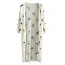 White Ostrich Print 3/4 Sleeve Tunic Cardigan