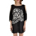 Black Print Boat Neck Split Sleeve Tunic Blouse
