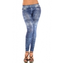 Blue Print Elastic Skinny Fitted Crop Jeggings