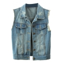 Blue Sleeveless Double Pocket Frayed Cuffs Denim Jacket