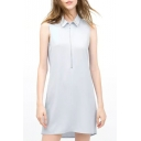 Blue Sleeveless Lapel Zip Front Loose Dress