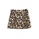Leopard Print Mini A-line Skirt