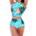 Blue Halter Twist Front High Waist Swimwear
