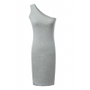 Gray One-Shoulder Concise Slim Dress
