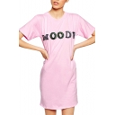 Pink Short Sleeve Sequins Letters T-Shirt Dress