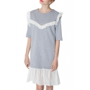 Gray 1/2 Sleeve White Pleated Trim Insert Midi Dress