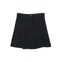 Black Button Front Plain Short Denim Full Skirt