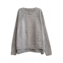 Rabbit Hair Batwing Sleeve Side Split Plain Round Neck Sweater