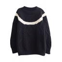Artistic Style Multi Cable Knit White Stripe Inset Sweater with Round Neck
