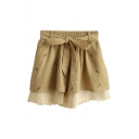 Dragonfly Embroidered Elastic Waist Belted Lace Shorts