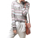 Geometrical Pattern Color Block Round Neck Long Sleeve Sweater