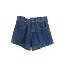 Dark Blue High Waist Denim Shorts
