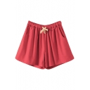 Red Drawstring Waist Casual Loose Shorts