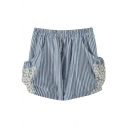 Blue Vertical Stripe Double Side Pockets Lace Insert Shorts
