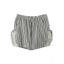 Black Vertical Stripe Double Side Pockets Lace Insert Shorts