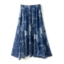 Navy Background Abstract Pattern A-line Midi Skirt