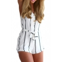 White Striped Spaghetti Strap Belted Romper