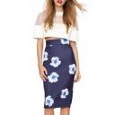 Navy Floral Print High Waist Back Split Midi Skirt