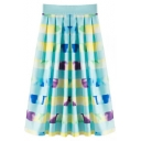 Colorful Striped High Waist Midi Skirt
